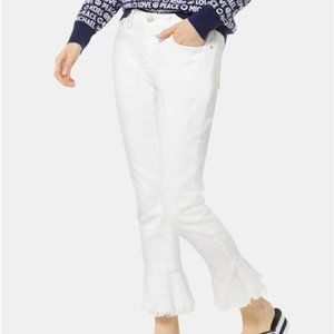 Michael Kors Flounce-Trimmed Cropped Skinny Jeans